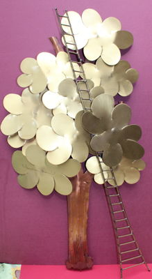 Daniel D'haeseleer - large vintage metal design tree (70 cm high)