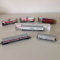 Fleischmann/Minitrix N - 6 goods wagons of the DB