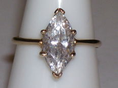 14 kt yellow gold ring with marquise cut Cubic Zirconia 2.50 ct - 16 mm
