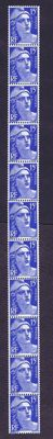France 1951  – Strip with 11 copies – coil stamps – Yvertt #886d (type III)