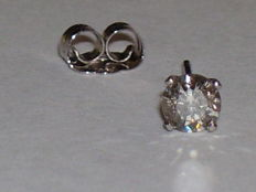 14 kt white gold ear studs with diamonds - 0.18 ct