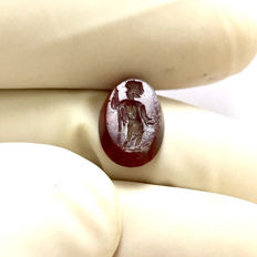 Ancient Roman Carnelian Gemstone engraved with God Jupiter. / 12mm.