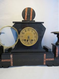 French Black/Terracotta marble mantel clock with two candlesticks - Period approx. 1890