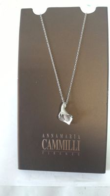 Annamaria Cammilli - Florence - Necklace and calla lily pendant in white gold with brilliant cut diamonds, D/VVS1, 0.05 ct – Necklace length: 42 cm