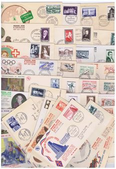 France 1951 and 1952 complete set  – Lot of 41, 1st-day envelopes – Yvert # 919 to 967