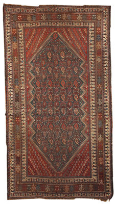 Hand made antique Persian Shiraz rug 3.10' x 6.6' ( 122cm x 201cm ) 1880s