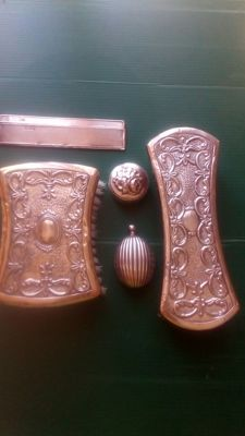 Silver Comb, Birmingham, with brushes, perfume bottle and pill box