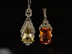 2 antique silver pendants with citrine-coloured spinel, 925 and 830 silver
