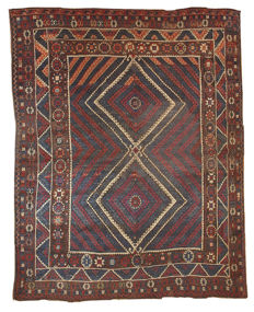 Hand made antique Turkish collectible Bergama rug 5.9' x 6.10' ( 180cm x 213cm ) 1880s