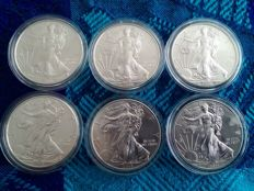 USA Lot of 6 American Silver Eagle – 2008/2015 – silver