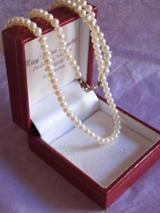 Fine necklace of salt water cultured pearls with gold clasp.