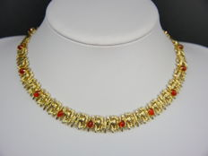 Henkel & Grosse, Pforzheim – Germany - exclusive necklace with red-brown glass cabochons