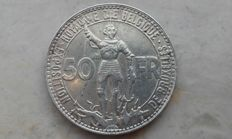 Belgium – 50 francs 1935 French (Position B) 'Brussels Expo' – silver
