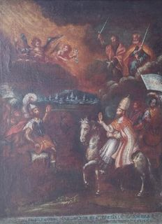 Oil painting on canvas depicting Pope Leo meeting Attila - Spanish School - End of 1600s