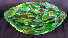 """Murano - centrepiece with """"leaves"""" and murrine (38 cm)"""