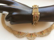 Parure by HOBE, from circa 1930 Bracelet measuring 17.5 cm with necklace