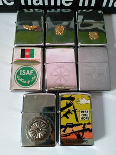 8 military styled Zippo's