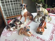 Collection - 7+2 Boxer dog figurines and group of 2 Bulldogs - Royal Copenhagen - Goebel, and more