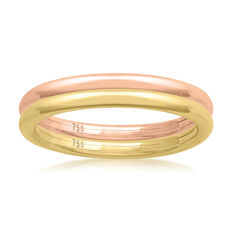 No reserve price, brand new Pink & Yellow gold (Set of 2) wedding bands, size N/54, 2.10mm width each