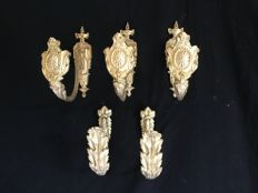 5 coat hooks in bronze, coat rack, France end XIX