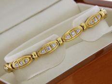 18 kt yellow gold bracelet + diamonds - standard dimensions: 18.5 cm