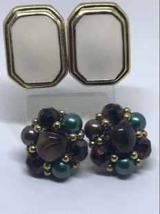 Two pairs of earrings by Trifari and Sphinx