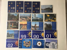 The Netherlands - year sets 1982/2002 + 1 guilder 2001 and 5 guilders 2000 EC (European Championship)  (total of 21 pieces)