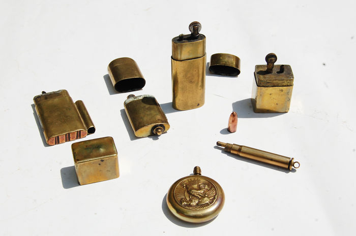 Trench art, lot of lighters handcrafted with copper bullets 1914