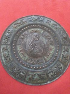 Rare metallic plate made of copper and silver foil - Italian - 19th-century