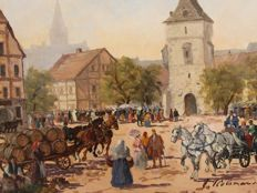 Hungarian school 20th, in the style of Vecsey Kalman Colomanus - Scène de village, chevaux, promenade en calèche