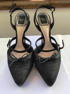 Christian Dior - Womes's Black Embossed Snake Baisers Voles