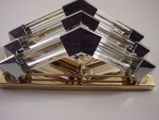 Bakalowits - wall lamp, gold-filled metal and 6 crystal rods with chrome elements ( 2x )