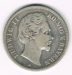 German Empire, Bavaria - 2 Mark 1876 D - silver