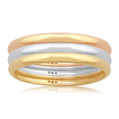 18K White,Yellow &,Pink Gold (Set of 3) wedding bands, size N/54, 2mm width each