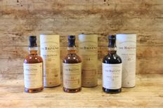 3 bottles - Balvenie 12 years old - 14 years old Caribbean Cask - 15 years old Sherry Cask - in original tubes