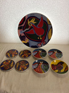 Corneille plate, 4 coasters and 4 dishes