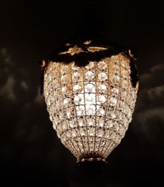 Crystal chandelier/ceiling lamp from the 1950s
