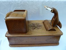 Vintage Merchanical Wood Cigarette Box - BIRD - Hand crafted