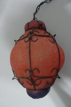 Venetian hanging lamp in orange and blue