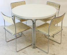 Tacke – vintage dining set consisting of four chairs and a table, with chromed steel frames