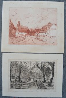 Lot of two etchings: Eugene Rensburg (1872-1956) and Martin van Waning (1887-1992)