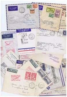 France - flight connections - lot of 17 first plane out envelopes - 1930-50s