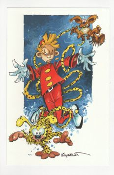 Azpiri, Alfonso - Original illustration in colour - Spirou, Marsupilami & Spip