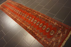 Magnificent hand-knotted oriental carpet Bukhara runner 76 x 366 cm Made in Pakistan