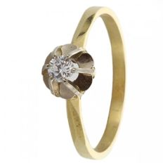 Ring, 14 karat yellow gold, model solitaire with 1 brilliant cut diamond 0.18 ct, colour: Top, White + SI quality, size 17.5