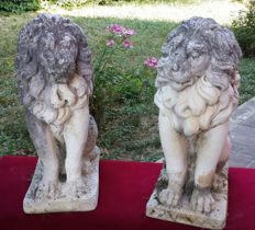Pair of lion cubs made of Carrara marble grit - France - 20th-century