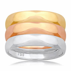 18Kt. brand new White,Yellow & Pink Gold  wedding bands, (Set of 3) size N/54, 4.15mm width each