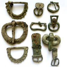 Lot of 10 Ancient Roman Bronze Buckles / 18mm - 44mm