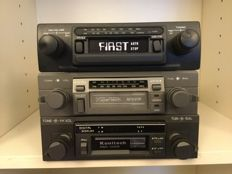 Three classic Stereo car radios with cassette from the 1970s and 1980s.