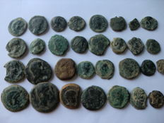 Lot of 31 coins of Ancient Spain (semis and aces of various mints)